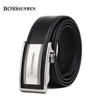 BOSSsunwen皮带 男牛皮自动扣商务大气牛皮男士青年腰带中年裤带黑色S76-060143A1TM