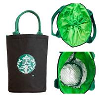 帆布手提收纳袋学生便当袋日式可爱保温包手提袋手拎包环保袋圆桶帆布袋带饭包
