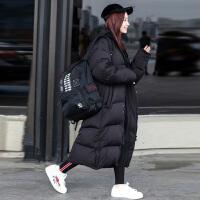 冬季新款2018羽绒服女装超长款韩国过膝加厚宽松连帽时尚大码外套 黑色