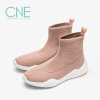 CNE2019秋冬款圆头平底弹力高帮运动鞋袜子鞋袜靴女短靴9T21601
