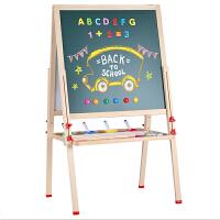 儿童家用粉笔小黑板支架式移动双面白板写字板磁性宝宝画画板木质