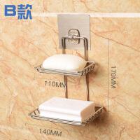 免打孔不锈钢双层肥皂盒创意壁挂肥皂架沥水香皂盒卫生间置物架