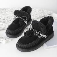 雪地靴女皮毛一�w2018冬季新款短筒棉鞋毛毛鞋平底短靴加�q女鞋