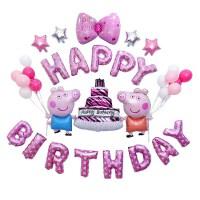 宝宝生日气球 派对百天生日用品布置宝宝儿童周岁气球公主装饰满月铝膜公主 橙衣佩奇款