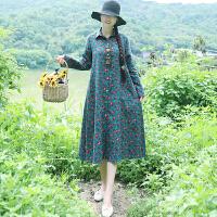 秋冬装新款民族风女装复古棉麻小碎花中长款加绒加厚开衫连衣裙潮