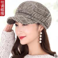 女秋冬贝雷帽韩版休闲百搭时装帽八角帽画家帽新款冬季帽子