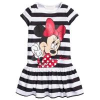 童装新款夏装女童短袖连衣裙条纹裙可爱卡通纯棉裙子小童女孩夏季 米妮条纹裙