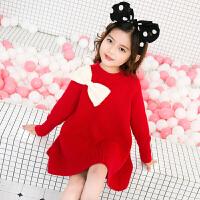 女童毛衣裙加厚针织衫春新款儿童中长款毛衫韩版公主裙洋气连衣裙