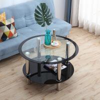 功夫茶几客厅小茶桌圆形玻璃茶几钢化小户型简约现代家用茶桌客厅茶几餐桌两用经济型 组装