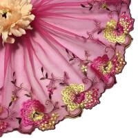 蕾丝花边辅料宽 布料田园风粉色刺绣服装布艺手工diy装饰材料宽22cm 两色花-粉色 长90cm