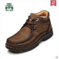 战地吉普加绒男鞋 新款高帮棉鞋男士户外雪地休闲鞋真皮鞋子男66083