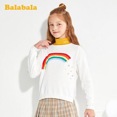 【满200减120】巴拉巴拉女童毛衣儿童春装儿童打底衫中大童纯棉时尚百搭洋气韩版