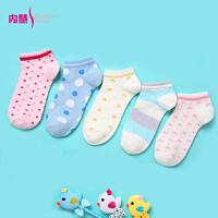 内慧 女士春夏新款纯棉糖果色可爱隐形女短袜船袜5双礼盒装5017