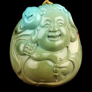 原矿高瓷绿松石弥勒佛 童子雕件 重23.8g(含链)