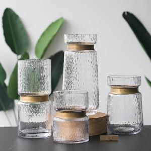 【每满100减50】幸阁 插花美式金属环凹凸纹玻璃花瓶 透明水培花器