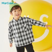 【限时2件3折】马卡乐童装2021秋季新款男童经典格子衬衫内搭外穿服外套