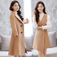 毛呢连衣裙女两件套2018早秋新款女装韩版中长款时尚套装秋冬裙子