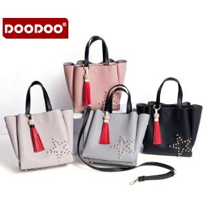 【支持礼品卡】DOODOO女士包包时尚2017夏季新款韩版简约手提单肩斜挎大包托特包 D6113