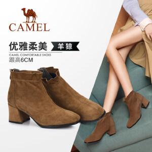 骆驼女鞋2018冬季新款 时尚休闲韩版百搭短靴子女粗跟短筒女靴