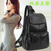 双肩包女韩版女包包时尚百搭街头潮流软皮背包女 黑色 双层主袋