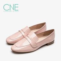 【顺丰包邮,大牌价:319】CNE2019春夏新品复古方头糖果色漆皮平底乐福鞋女单鞋AM08001