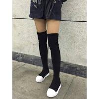 过膝长靴女2018秋冬新款针织袜子靴弹力平底显瘦厚底5050长筒靴绒