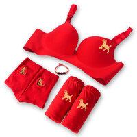 本命年文胸套装女士无痕聚拢大红色无钢圈结婚礼性感女人内衣袜子