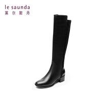 莱尔斯丹 商场同款粗跟中跟不过膝长靴长筒女靴 8T44402