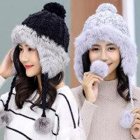 女士潮可爱兔毛帽子 加厚针织帽滑雪毛球帽 韩版护耳毛线帽子女户外保暖帽子
