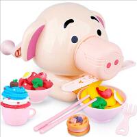 儿童冰淇淋粘土女孩玩具小猪彩泥面条机橡皮泥模具工具套装