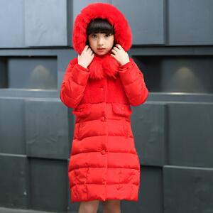 百槿 秋冬童装新品女童毛领连帽加厚棉衣防风防水保暖加厚棉衣