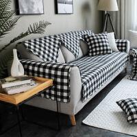君别时尚格子沙发坐垫布艺沙发垫子 咖啡色沙发巾套黑白格子定制 白色 小白格子