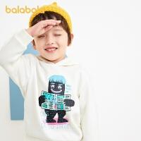 【3件5折价:60】巴拉巴拉儿童长袖T恤加绒男童宝宝上衣连帽卫衣保暖