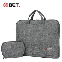 BET男女款灰色14寸笔记本包手提公文包休闲单肩包电脑包BT65007HS