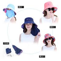 韩版户外防晒遮阳帽子女夏天大沿可折叠盆帽渔夫帽出游遮脸太阳帽