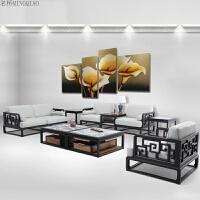 新中式沙发组合简约现代实木沙发别墅客厅样板房布艺沙发家具 组合