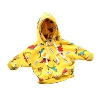 儿童恐龙印花卫衣17男女童双层套头衫宝宝连帽T恤厚实 黄色 加厚花样龙