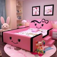 单人床欧式粉儿童床女孩公主床少女卡通小学生实木带护栏 +床头柜*2