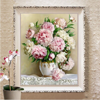 5D钻石画十字绣客厅新款牡丹花百合花瓶小幅卧室简约现代玫瑰花