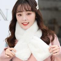 韩版小清新仿獭兔毛可爱少女加厚保暖毛毛绒围脖套围巾女冬季