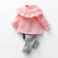 罗町女童套装两件套装加绒公主范外出套装百搭婴儿服
