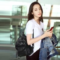 韩版软皮双肩包女2018新款包包时尚百搭休闲简约大容量背包潮书包 黑色送暴力熊
