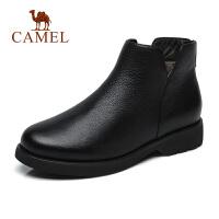 骆驼2018秋冬季新款女靴真皮短靴简约平底复古保暖低跟加绒靴子女