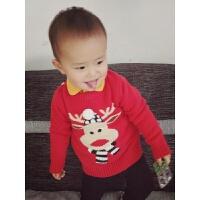 儿童宝宝红色纯棉线卡通麋鹿针织毛衣男女小童加厚圣诞鹿毛衣新年