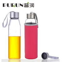 普润 550ML 玻璃水瓶 车载玻璃杯子带盖茶杯水瓶清新学生运动男韩版茶杯随手杯