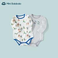 迷你巴拉巴拉男婴儿连体衣2021春季纯棉包屁衣2件装