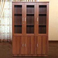 书柜三门书柜组合书柜办公书柜办公室书柜玻璃书柜带锁客厅书柜 红梨木色 1.2-1.4米宽