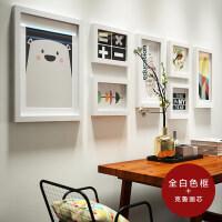 现代客厅装饰照片墙北欧实木相框墙简约创意挂墙组合相片墙 全白色框+克鲁画芯
