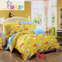 富安娜家纺 酷奇智儿童四件套纯棉斜纹亲肤透气卡通床上用品 小飞侠 黄 1.5米(5英尺)床