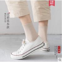袜子女中筒袜网红时尚潮流薄款百搭日系纯棉女袜简约素色韩版学院风袜户外新品